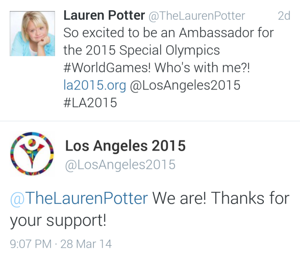 Lauren Potter is excited to announce that she will be the Ambassador to the Special Olympics World Games in 2015!