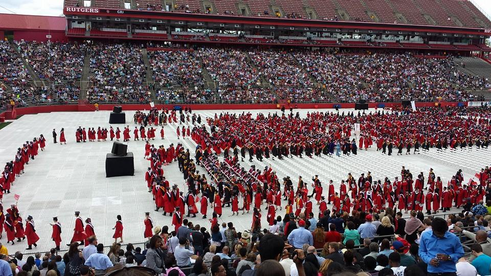 "Does this march look like a big, giant ""R""? This photo was taken at my brother's graduation commencement ceremony from Rutgers University!"
